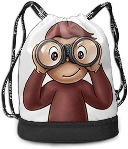 メンズ レディース 兼用おさるのジョージ1 ナップサック アウトドア ジムサック 防水仕様 バッグ 巾着袋 スポーツ 収納バッグ 軽量 バッグ 登山 自転車 通学・通勤・運動 ・旅行に最適 アウトドア 収納バッグ