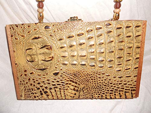 Cigarbox Purse, Italian Croc High end Embossed leather, Tina Marie Purse, Vintage Cigar Box, Camel/Brown/Neutral