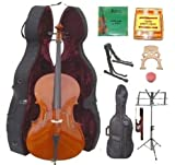GRACE 3/4 Size Natural Cello with Hard Case + Soft Carrying Bag+Bow+Rosin+Extra Set of Strings+Extra Bridge+Pitch Pipe+Black Cello Stand+Music Stand