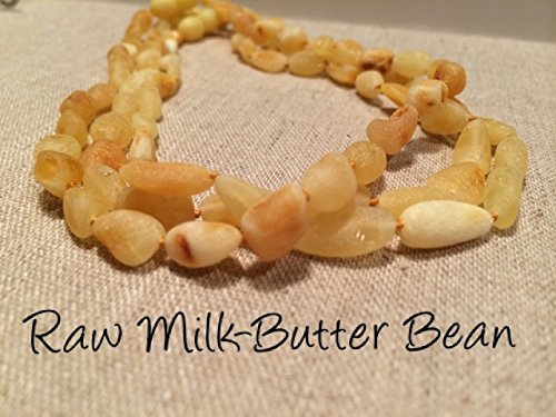 Raw Baltic Amber Teething Necklace For Babies (Unisex) - Anti Flammatory, Drooling & Teething Pain Reduce Properties - UNPOLISHED Milk Butter Natural Certificated Baltic Jewelry with the Highest Quality Guaranteed. Easy to Fastens with a Twist-in Screw Clasp Mothers Approved Remedies! Baby Infant Toddler Boy Girl Unisex