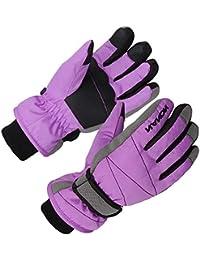 XTACER Kids Ski Snow Gloves Snowboard Winter Warm Cold Weather Gloves for Boys Girls Children (Purple, Medium)