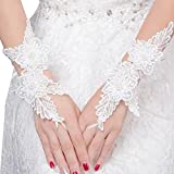 Elegant Lady Formal Banquet Party Bride Pierced Lace Wedding Gloves Bridal Gloves, NO.36