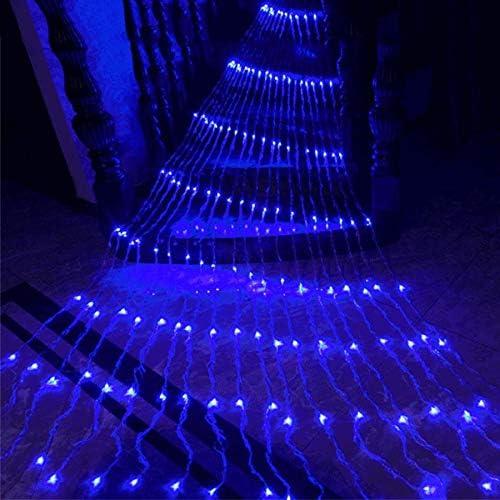 Luz de carámbano de cascada LED, azul, luz de cadena de cortina de ventana, luz de guirnalda de pared exterior de boda de Navidad, luz de hadas led, luces de navidad, 6 * 3 m