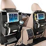 PALMOO Pu Leather Car Seat Back Organizer and iPad Mini Holder, Universal Use as Car Backseat Organizer for Kids, Storage Bottles, Tissue Box, Toys (1 Pack, Black)
