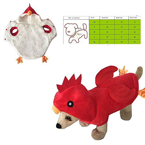 [Pet Style red chicken Jaws Fancy Dress Costume Outfit Adorable red chicken Pet Costume Hoodie Coat for Dogs and Cats (XL(Neck:36cm x Body:35cm x Chest:53cm), red] (Shark Dog Outfit)