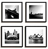 4Pcs x Black and White Famous Building Motivational Office Picture Photo Wood Black Frame Glass + White Mat Wall Modern Art Girl Gift Coffee Room Hall Decoration 12×12″ (30x30cm) (49-52)