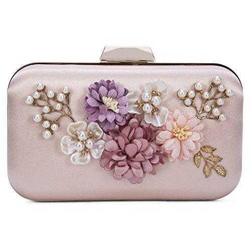 UBORSE Women's Flower Evening Clutch Pearl Beaded Evening Handbag Wedding Clutch Purse Pink