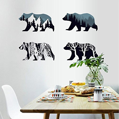 MLM Snow Mountain Forest Silhouette Polar Bear Wall Sticker Animal Wall Decal for Living Room Porch Children Bedroom Study Classroom Nursery Kids Room Dcor (Bear)