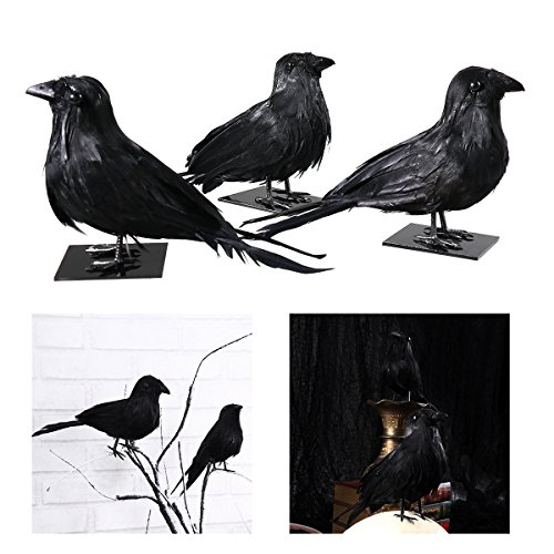 Tinksky 3pcs Simulation Halloween Decoration Realistic Feathered Crows Raven Birds with Pedestals Funny Halloween Ornaments Hounted House Bar Prop Masquerade Home Party Decor Supplies Halloween -