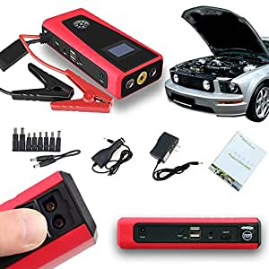Indigi® 3-in-1 Compact 12000mAh Power Bank Battery Charger Emergency Car Jump Starter Kit (Red)
