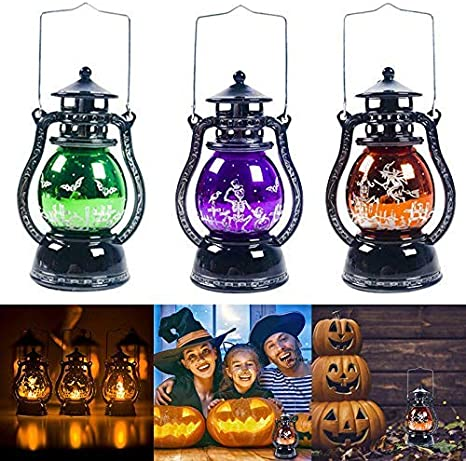 Halloween Hanging Oil Lamp Color Change Light Holiday Party Vintage Ornaments
