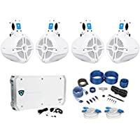 4 Rockville RWB65W 6.5 Wakeboard Marine Speakers+6 Channel Amplifier+Amp Kit