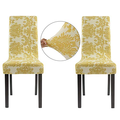 Homluxe Printed Spandex Stretch Dining Room Chair Slipcovers (2, Gold Tree)