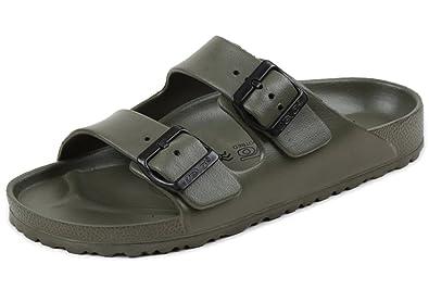 247b05dc40bc MT-DEVO Mens Lightweight EVA Summer Beach Comfort Footbed Slider Sandals 6  US Army Green