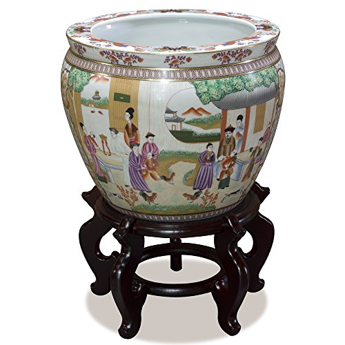 (ChinaFurnitureOnline 12in Porcelain Fishbowl Planter Flower Pot with Imperial Court)