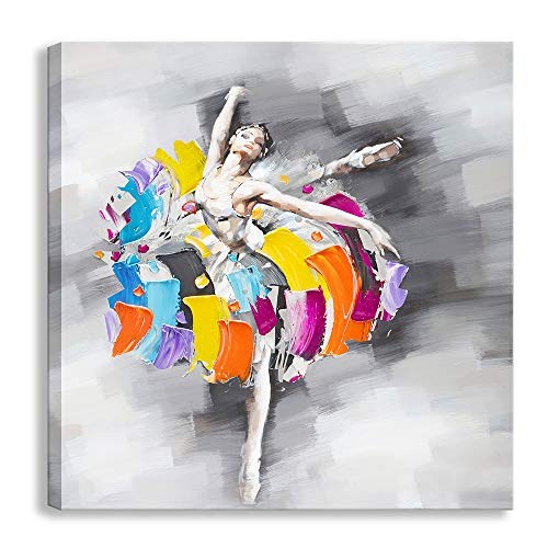 Modern Abstract Artwork Sexy Ballet Dancer Girl Oil Paintings on Canvas Print Wall Art Ready to Hang for Home Decoration Wall Decor (24 X 24 inch, Dancer - 01) (African American Ballet Poster)