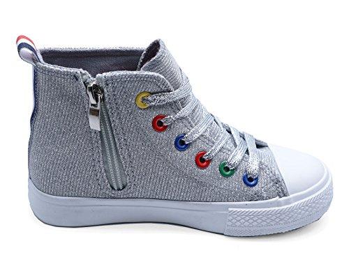 HeelzSoHigh Kinder Flach Silber Glitzer Hohe Baseball Turnschuhe Stiefel Junior Schuhgrößen 8-2