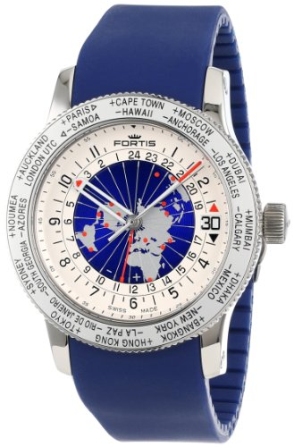 Fortis Men's 674.20.15 Si.05 B-47 Worldtimer GMT Swiss Automatic Bidirectional Bezel Blue Silicone Strap GMT Date Watch