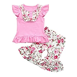 Vincent&July Toddler Girls Summer Pink Floral Print Tops T-Shirt+Ruched Ruffle Pants Outfits 6