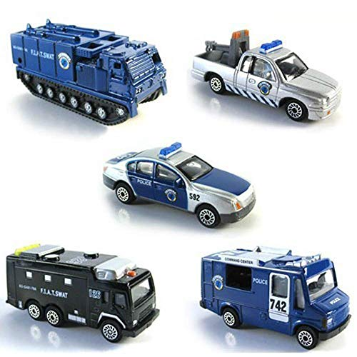 BOHS Pack of 5pcs- Police SWAT Vehicles- Mini Metal Miniature Diecasts -Car,Tow Truck,Armored Vehicle,Prison Van,Command Center (with Prison Van) ()