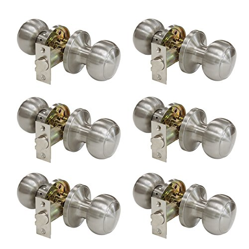 Probrico Passage Door Knobs Handles Lock Satin Nickel Colonial Style Interior Door Knobs for Hall/Closets (Pack of 6)