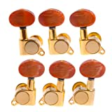Kmise A1960 1 Set 3L3R K-801 Enclosed Gold Tuning Pegs Machine Head Tuners with Light-Copper