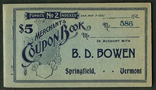 B D Bowen Department Store Merchants Coupon Book Springfield VT 1900s