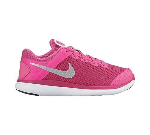 best loved 4da23 538d8 Amazon.com   NIKE Girl s Flex 2016 RN (PS) Pre-School Shoe Pink  Blast Metallic Silver Black Size 2.5 M US   Running