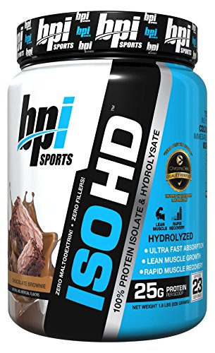 BPI Sports ISO HD 100% Protein Isolate & Hydrolysate, Chocolate Brownie, 1.8 Pound