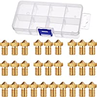 Hestya 28 Pieces M6 3D Printer Brass Extruder Nozzle Print Head for E3D Makerbot 0.2 mm, 0.3 mm, 0.4 mm, 0.5 mm, 0.6 mm, 0.8 mm, 1.0 mm with 8 Grids Storage Box by Hestya