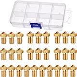 Hestya 28 Pieces M6 3D Printer Brass Extruder Nozzle Print Head for E3D Makerbot 0.2 mm, 0.3 mm, 0.4 mm, 0.5 mm, 0.6 mm, 0.8 mm, 1.0 mm with 8 Grids Storage Box