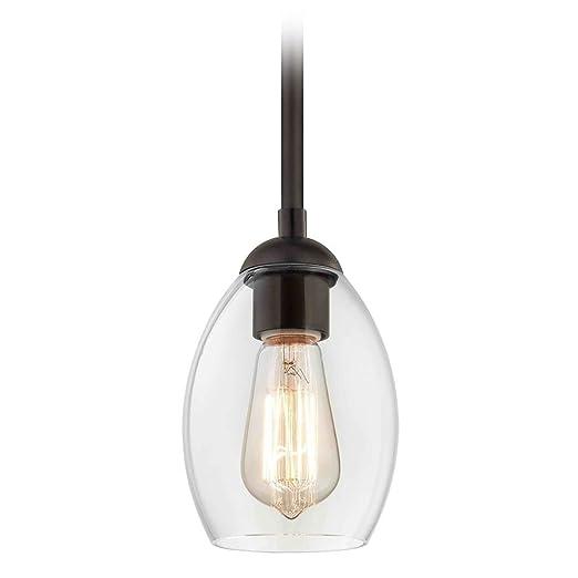 Amazon.com: Mini lámpara colgante de bronce con pantalla ...