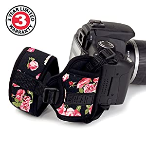 Professional Camera Grip Hand Strap with Padded Neoprene Design and Metal Plate by USA Gear - Works With Canon , Fujifilm , Nikon , Sony and more DSLR , Mirrorless , Point & Shoot Cameras from USA GEAR