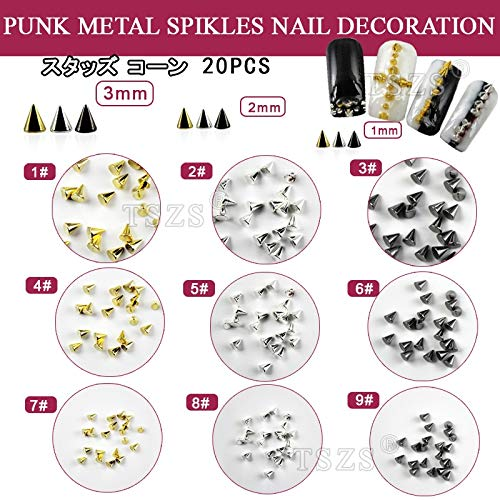 (Kamas 100pcs /lot Gold Silver Black Metal Nail Art Tiny Stick Cone Spike Studs Spots Craft Diy - (Color: NO1))