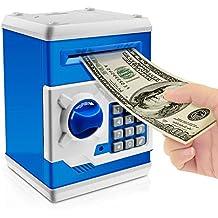 Jhua Cartoon Piggy Bank Password Electronic Money Bank Safe Saving Box ATM Bank Safe Locks Panda Smart Voice Prompt Money Piggy Box for Children/ Christmas Gift (Blue)