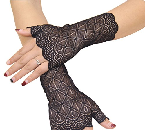 YunKo Short Lace Gloves UV Protection Fingerless Gloves Prom Party Driving Wedding (Black) -