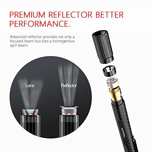 INFRAY LED Flashlight, Pocket Sized Pen light with Super Bright CREE XPE2 R4 LED, Adjustable Focus High Lumen Pen Flashlight, Portable & Waterproof Small LED Flashlights, Powered By 2AAA Batteries