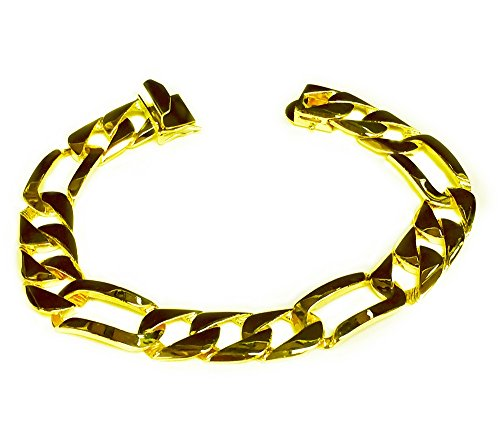14Kt Solid Yellow Gold Handmade Figaro Curb Link Mens Bracelet 9