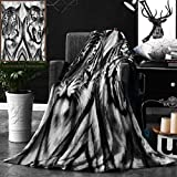 Unique Custom Double Sides Print Flannel Blankets Safari Decor Cat Expression Opposite Images Fearsome Teeth Mirror Angry Intense Wi Super Soft Blanketry for Bed Couch, Throw Blanket 40 x 60 Inches
