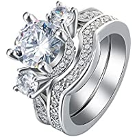 925 Silver White Sapphire Ring Set Wedding Engagement Propose Jewelry Size 6-10 (8)