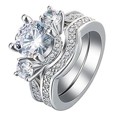 - 925 Silver White Sapphire Ring Set Wedding Engagement Propose Jewelry Size 6-10 (8)