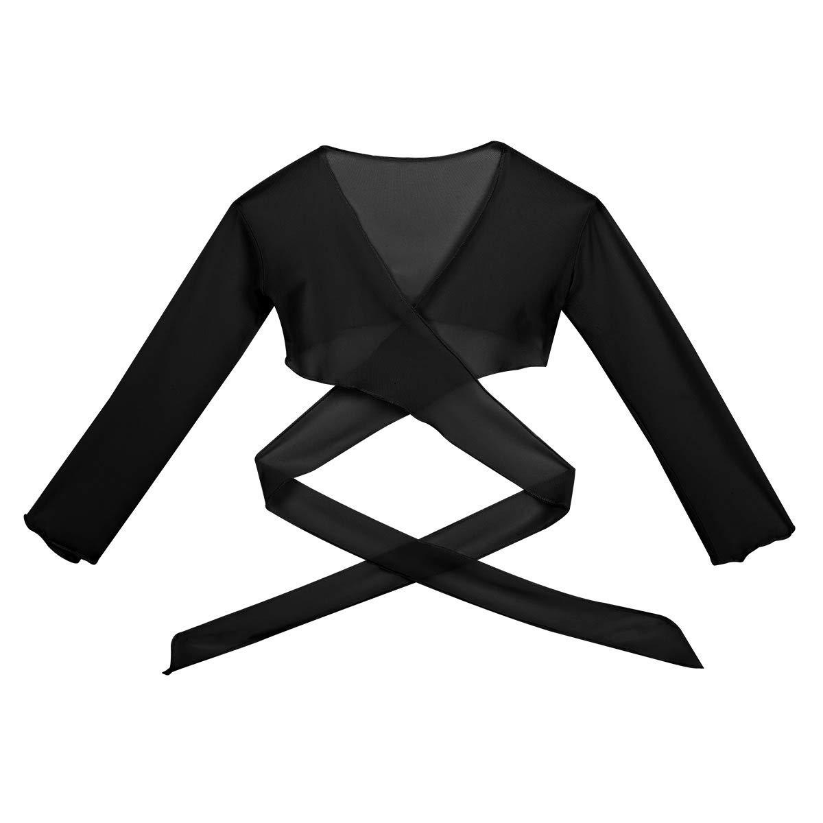 Alvivi Kids Girls Back Ties Knot Long Sleeve Ballet Dance Dress Cardigan Sweater Knit Wrap Top