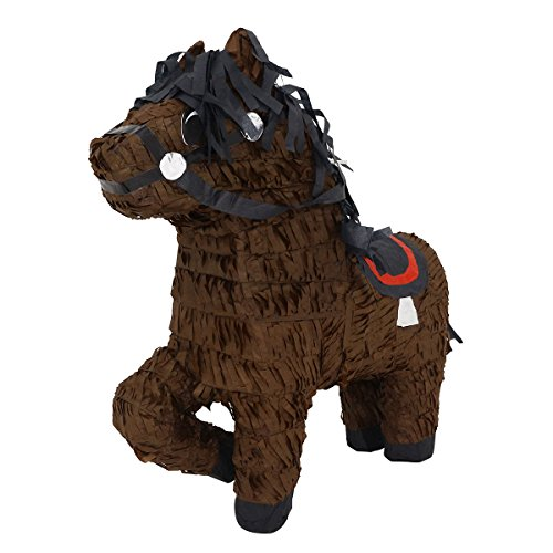 Brown Horse with Saddle and Folded Leg Pinata - Mexican Piñata - Handmade in Mexico (Handmade Folded)