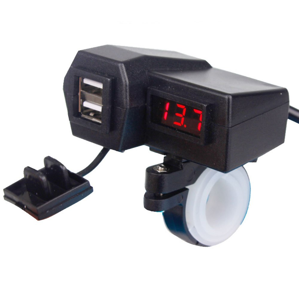 ZYTC 2 in 1 Motorcycle Dual USB Phone Charger & Red Voltmeter 5V 3.1A with 7/8' 1' Handlebar Mounting ZYTC Company 4335022890