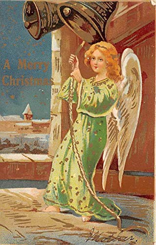 Christmas Postcard Antique Xmas Post Card Angel 1907 (Angel Postcard Christmas)