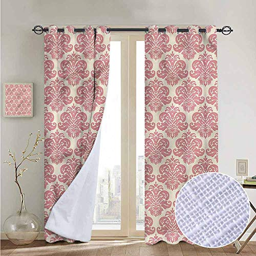 NUOMANAN Blackout Curtain Panels Window Draperies Dusty Rose,Antique Damask Motifs,for Bedroom, Kitchen, Living Room ()