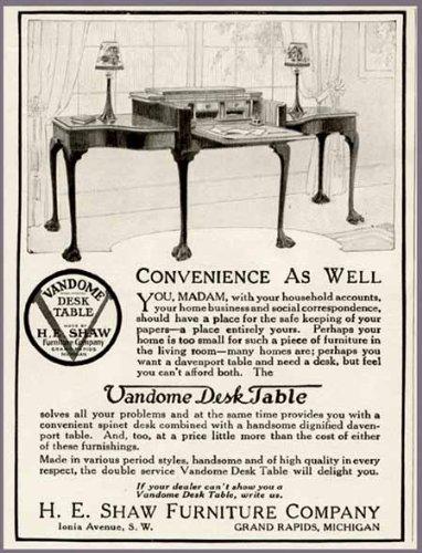 Amazon.com: 1923 H.E. SHAW FURNITURE CO. AD FOR VANDOME DESK TABLE Original  Paper Ephemera Authentic Vintage Print Magazine Ad / Article: Posters U0026  Prints