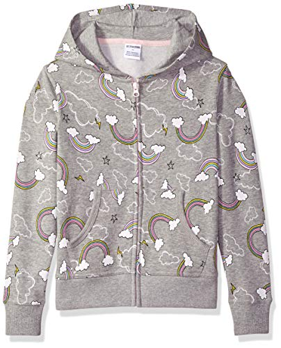 Amazon Brand - Spotted Zebra Big Kid Fleece Zip-Up Hoodies, Rainbows, Medium (8)
