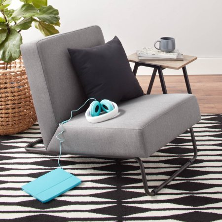 Accent Chair Kickstand Upholstered Fabric Metal Lounge Chair Perfect For Small Spaces - Gray