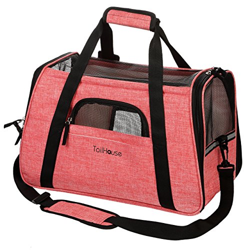 Airplane Pet Carrier (Airline Approved Pet Carrier by TailHouse: Amazing Pink Soft Sided Travel Bag For Small Dogs and Cats - Tote w/ Fleece Bed and Shoulder Strap)